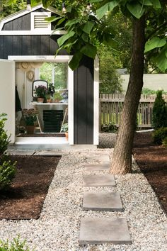 backyard shed gravel pavers path Michelle Adams Ann Arbor Michigan by Marta Xochilt Perez