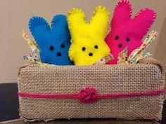 Homemade Peeps in Burlap Basket Peeps, Burlap, Coin Purse, Basket, Homemade, Purses, Blog, Crafts, Diy