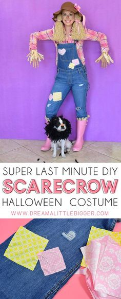Super Last Minute Scarecrow Costume Save money and time pulling items out of your closet and craft stash for this so cute DIY scarecrow costume you can throw together for Halloween at the very last minute! Toddler Scarecrow Costume, Scarecrow Tutu, Halloween Costumes Scarecrow, Scarecrow Makeup, Ghost Costumes, Halloween Costume Contest, Toddler Halloween, Diy Costumes, Halloween Party