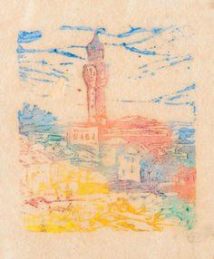 Ellen Thesleff (Finnish artist) 1869 - 1952 Palazzo Vecchio, ca. 1909 woodcut 5 x 4 cm. signed