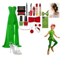 """Peter Pan-Evening Wear-Special Series"" by disneybound-fashion ❤ liked on Polyvore featuring René Caovilla, Rimmel, Burt's Bees, Dolce&Gabbana, Disney, Urban Outfitters, OPI, Dsquared2, Bling Jewelry and LoveBrightJewelry"