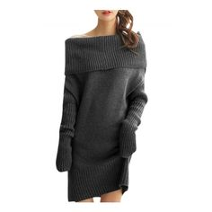 Women's Solid Slash Neck Long Sleeve Knitted Sweater Dress (€24) ❤ liked on Polyvore featuring dresses, off shoulder dress, long sleeve dress, long-sleeve sweater dresses, boatneck dress and batwing-sleeve dresses