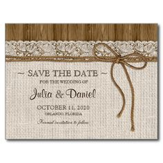 Rustic Wedding Save The Date With Burlap And Lace Post Cards