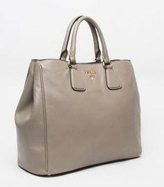 Prada Elephant Grey Original Leather Tote Bag