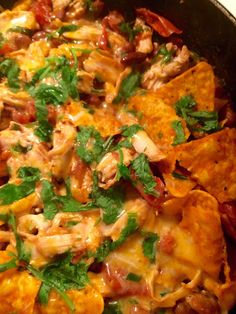 Rotisserie Chicken Chilaquiles With Rotisserie Chicken, Roasted Tomatoes, Kidney Beans, Serrano Peppers, Cumin, Doritos, Cheese, Fresh Cilantro