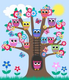 lot of owls in a tree Stock Vector