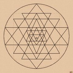 The Sri Yantra is drawn from nine triangles, four pointed...