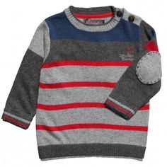 Jean Bourget Boys Knitted Stripe Jumper with Elbow Patches at Childrensalon.com
