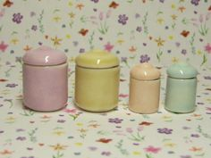 pastel dollhouse miniature canisters set of 4 with removable lids. $14.00, via Etsy.