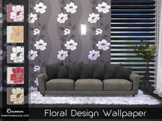 Floral Design Wallpaper by Rirann at TSR via Sims 4 Updates