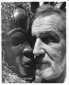 """""""King of the Horror Movies Vincent Price poses face to face with an African dance mask -- in the sunshine of his magnificent garden at home in Bel Air. Price is a many-sided man: actor and comedian, collector and connoisseur, lecturer and author, among other accomplishments. He also prepares 90 percent of the family's meals at home, and washes the dishes."""" Dated September 1970."""
