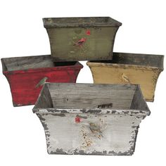 Blending carte postale inspirations with a perching bird motif, this distressed planter offers vintaged appeal for your sunroom or kitchen.    ...