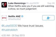 Luke and Netflix Au/Nz Twitter conversation
