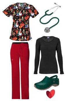 Christmas scrub outfit inspiration created by allheart featuring: Scrub top- Tooniforms by Cherokee Women's V-Neck Sesame Street Christmas Print /  Scrub pant (red) -  Core Stretch by Cherokee Workwear Women's Flare Leg / Underscrub (black)- Cherokee Workwear Women's Long Sleeve Knit / Clog (hunter green)- ANYWEAR Women's Zone Medical Clog / Stethoscope (hunter green) - 3M Littmann Classic III™ 27""