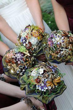 Karen made her own for her wedding. her photos were gorgeous. - My WordPress Website Wedding Brooch Bouquets, Bride Bouquets, Flower Bouquet Wedding, Peacock Wedding, Bling Wedding, Floral Wedding, Vintage Jewelry Crafts, Wedding Crafts, Vintage Bridal