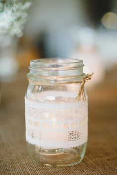 Lace jar with tealights Photography By / http://amyarrington.com