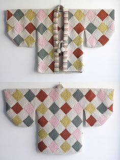 "Cresus-parpi: arlequin haori (Entrelac kimono) ""for kids/ prototype"".  Hope the 'prototype' means 'knitting pattern'!"
