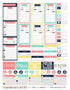 Printable Fitness Stickers set for weekly spread in the Happy Planner.
