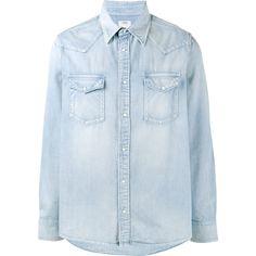 Visvim Albacore Denim Shirt ($685) ❤ liked on Polyvore featuring men's fashion, men's clothing, men's shirts, men's casual shirts and mens denim shirt
