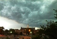 This is a storm front, moving from right to left, of a violent thunderstorm over the Morristown, NJ Town Hall on July 26, 2012. (CNN iReport)