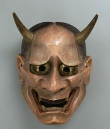 Noh mask, Hannya (an enraged soul), one of 47 Noh masks formerly owned by Konparu Sōke (the leading family of the Konparu school), Wood, colored Muromachi-Meiji period/15-19th century Originally owned by Konparu-za. Tokyo National Museum.