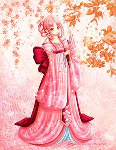 Sakura by Eranthe on DeviantArt Characters With Pink Hair, Chibi Characters, Beautiful Fantasy Art, Beautiful Anime Girl, Anime Art Girl, Manga Girl, Anime Girls, Samurai, Anime Prince