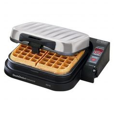 Chefs Choice Model 850 SE Square Belgian Waffle Pro Quadplus baking system. Independently adjust baking time of each region. Non-stick griddle surface. Even batter distribution with no need to flip. 1-year limited warranty.