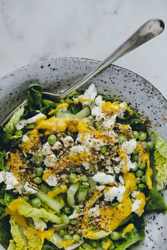 Simple Green Salad witih Summer Solstice Turmeric Dressing #Salad #Green #Turmeric #Tahini