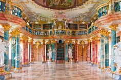 """Wiblingen Abbey, Bibliothekssaal, Germany (lit. """"Library Hall"""") from the 18th century."""