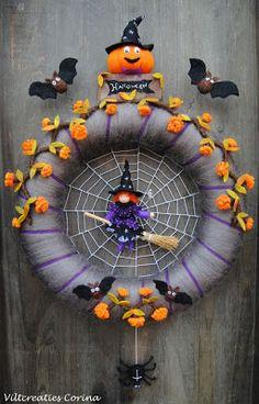 """Nieuw ontwerp """"Halloween krans""""! Deze zou ik wel eens durven namaken met fietsbanden! Groetjes Oma Vlam."""