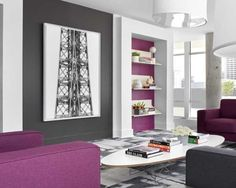 modern living room with pink and gray accent wall design