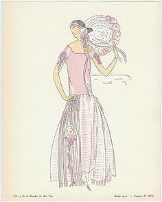 """Pour la Riviera"" Illustration from ""La Gazette du Bon Ton"", French, 1921."