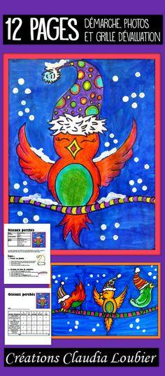 Projet d'arts plastiques d'hiver ou de Noël. 1er cycle et plus. Peut être fait à la maternelle, si aidés pour le dessin de l'oiseau. Les élèves apprennent à dessiner un oiseau. Notions de motifs et d'alternance. Vous pouvez faire ce projet avec n'importe quelle technique. Je la fais ici avec du crayon de bois et de la gouache en pain. Feuilles imprimables incluses pour un fil continu, pour faire un collectif incroyable. Description détaillée, photos et grille d'évaluation incluses.