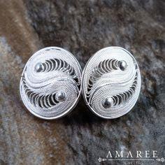 Pisces Earrings  Handmade Silver Filigree