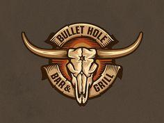 Bullet Hole Logo Concept designed by Paragon Design House. Pub Design, Best Logo Design, Branding Design, Logo Branding, Brand Identity, Graphic Design, Toro Logo, Carnes Premium, Western Logo