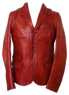 Veste en cuir DSQUARED2 48 (M) rouge neuf avec étiquette