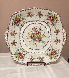 Royal Albert Bone China 9 in x 9.5 in. Cake Plate. PETIT POINT pattern,  Vintage…