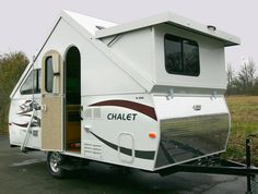 Sweet folding trailers with bathrooms.