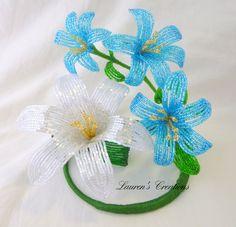 https://www.etsy.com/treasury/MjY2MDc3MTB8MjcyMjI2NDEzNw/open-no-minimum-ah.. French Beaded Flowers  blue white beaded by LaurenHCreations, $55.00