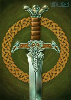 FRAGARACH the 'Answerer' or 'Retaliator' was the sword of Manannan mac Lir and later, Lugh Lamfada. Forged by the gods, Manannan wielded it as his weapon before passing it on to Lugh, his foster son. It was given to Cúchulainn by Lugh, and later to Conn of the 100 Battles. It was said that no one could tell a lie with Fragarach at his or throat. It was also said to place the wind at the user's command and could cut through any shield or wall, and had a piercing wound from which no man c…