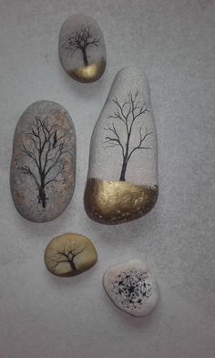 Trees on pebbles drawing gold ink stone - # Trees .- Arbres sur galets dessin encre de chine or pierre – Trees on pebbles drawing gold ink stone – - Pebble Painting, Pebble Art, Stone Painting, Ink Painting, Pebble Stone, Stone Crafts, Rock Crafts, Arts And Crafts, Diy Crafts