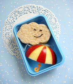 an apple and bread.. :) creative way to make your kids eat healthy snacks