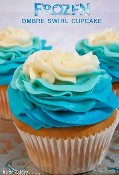 These Frozen Ombre Swirl Cupcakes will be the star of the Dessert Table at your Frozen Birthday party. So gorgeous, so delicious, so easy to make, it is a cupcake fit for an Ice Queen. For more great Frozen Party Ideas follow us at http://www.pinterest.com/2SistersCraft/
