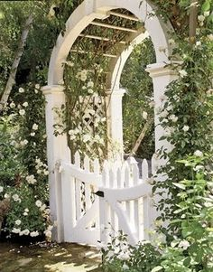 Inspired Garden Gates for a Beautiful Backyard For a majestic garden gate, try a white barreled archway.For a majestic garden gate, try a white barreled archway.