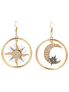 $5.50--Asymmetric Sun Moon Star Round Earrings - GOLDEN