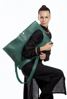 Green Leather Bag - Handmade Geometric Messenger Bag