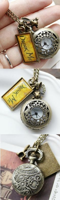 New Vintage Drink Me Alice In Wonderland Pocket Watch Necklace With Rabbit! Click The Image To Buy It Now or Tag Someone You Want To Buy This For.  #AliceInWonderland