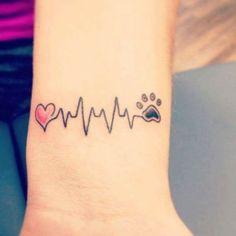 With Every Heartbeat Tattoo Heartbeat Cross Tattoo Colorful Heart Tattoo Designs Neue Tattoos, Dog Tattoos, Finger Tattoos, Animal Tattoos, Print Tattoos, Animal Lover Tattoo, Tatoos, Floral Tattoos, Tattoos Skull