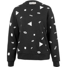 Être Cécile Black Emblem Printed Sweatshirt ($180) ❤ liked on Polyvore featuring tops, hoodies, sweatshirts, cotton sweatshirt, long sleeve cotton tops, black long sleeve top, graphic sweatshirts and black cotton sweatshirt