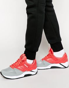 Trainers by Saucony Panel design Lace-up fastening Shaped and padded cuff Textured grip tread Wipe with a damp sponge